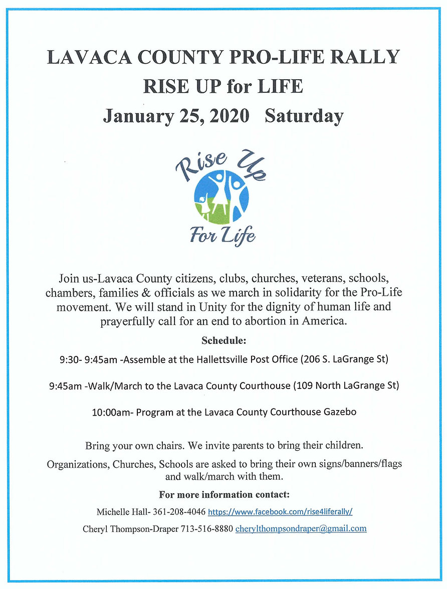 2020 Rise Up For Life Rally Flyer (updat