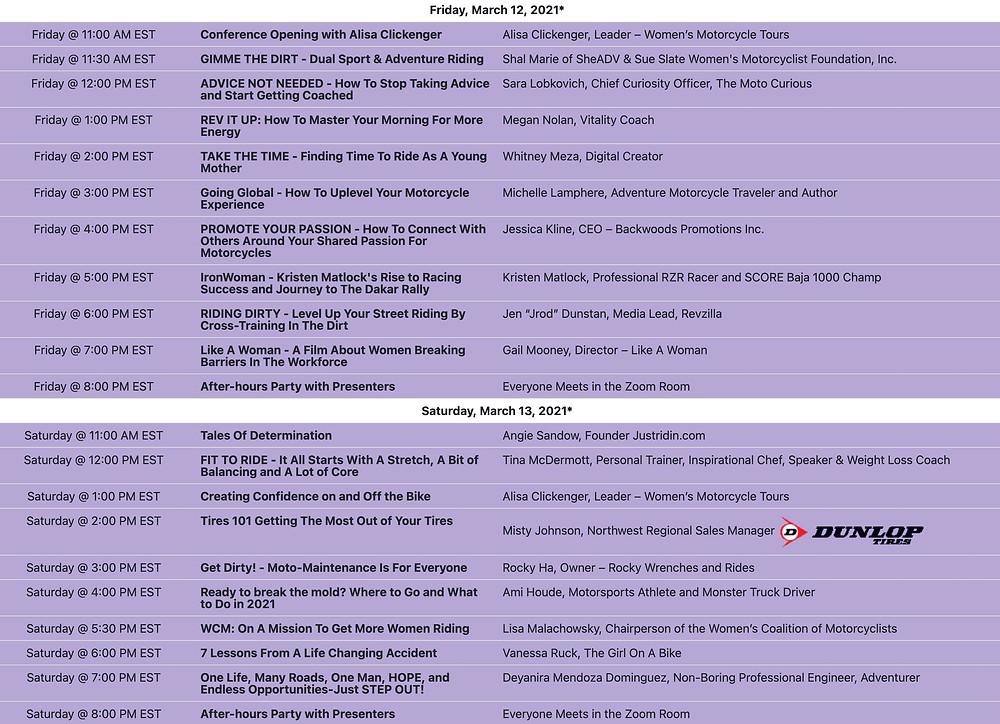 Image of Women In Motorcycling Online schedule for event held March 12 and 13, 2021.  How can you not attend future events