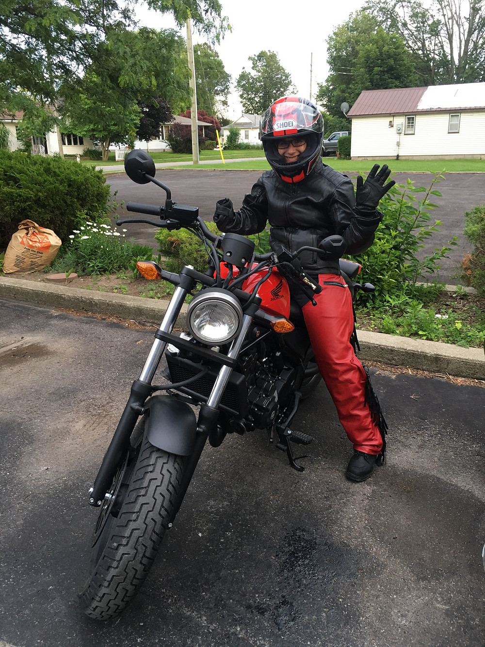 Angie's first motorcycle - a 2017 Honda Rebel 300