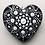 Mandala ceramic heart black white gift unique