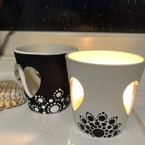 Mandala Ceramic tea light holders black white sale bargain unique gifting