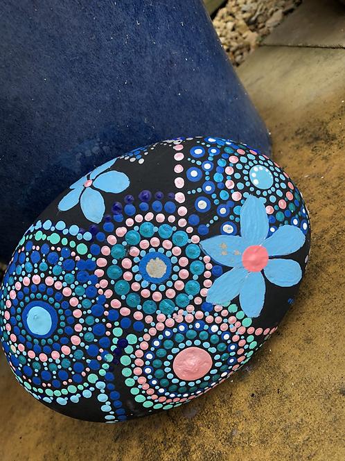 Mandala large stone blue pink garden decor buy sale