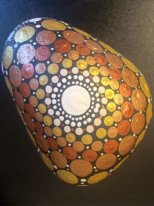Mandala Stone Dotting gold art selling for sale