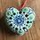 Mandala Heart for hanging  green blue
