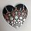 Mandala Dotting Heart wooden heart silver orange