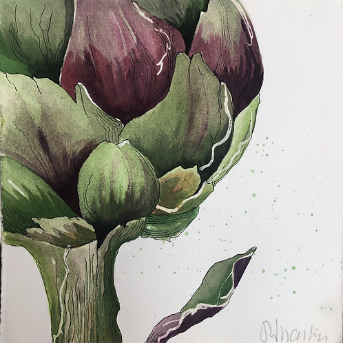 watercolour prints artichoke green purple