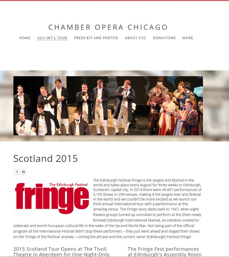 Chamber Opera Chicago Intl Tours