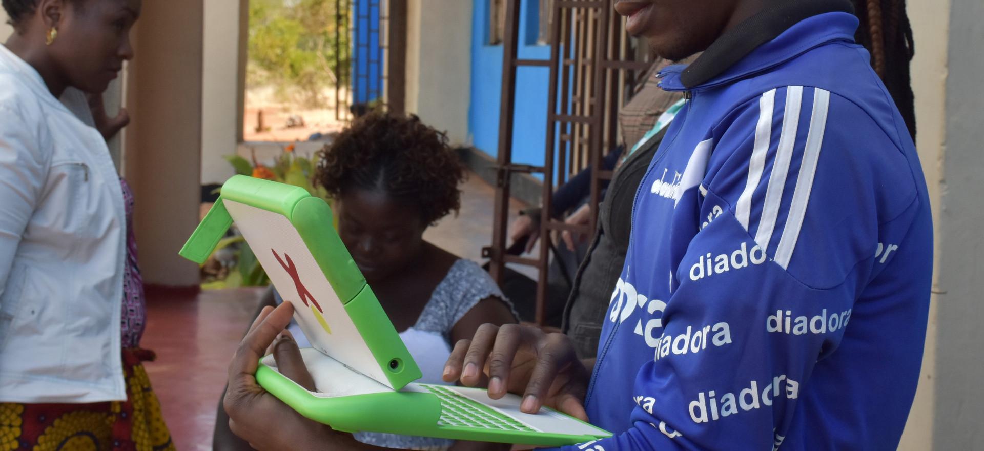 Twabuka School teachers learning OLPC computers