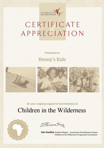 Certificate of Appreciation for Henny's Kids