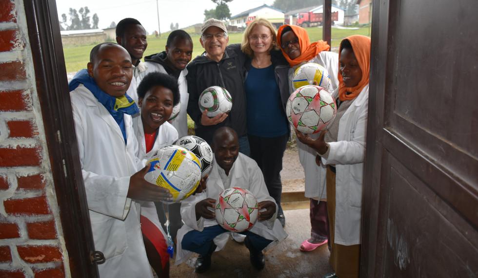 Rwanda - David Kempler/Candyce Stapen and Teachers delivering Soccer Balls