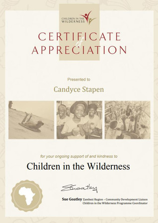 Certificate of Appreciation for Candyce Stapen
