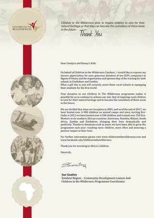 Certificate of Appreciation for Candyce Stapen and Henny's Kids