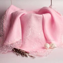 Салфетка _Узор с лилиями розовая_