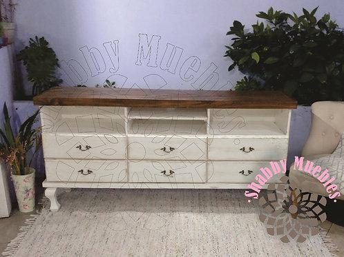 Mueble de TV Provenzal 6 cajones con flores