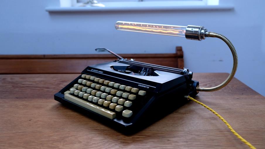 Vintage Black Typewriter Lamp