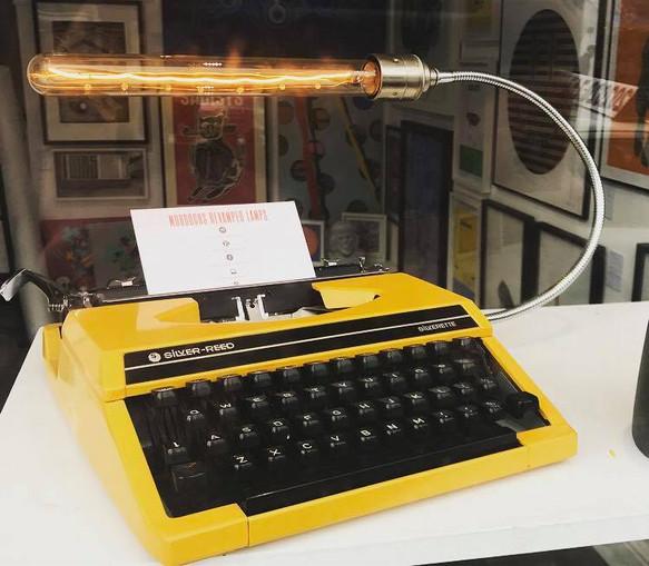 Canery yellow typewritter lamp.