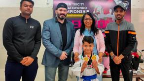 7years old Bhavik Jindal from Panchkula 1st position Open Tricity Sports Taekwondo Championship 2021