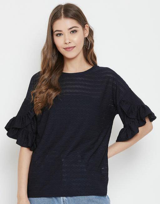 Austinwood Navy Blue Half sleeves Solid Top