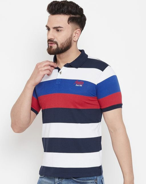 Austin wood Men's Multi Striped polo Neck t-shirt