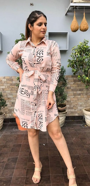 Trendy Paper Print Front Collared Dress