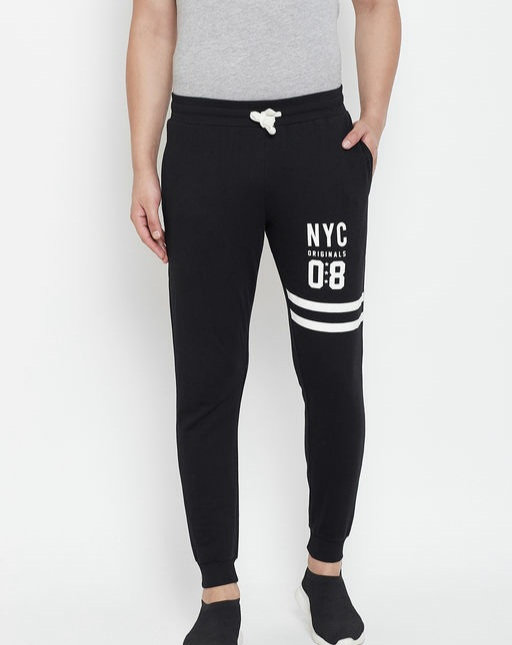 Austin wood Black Printed Slim Fit Track Pant