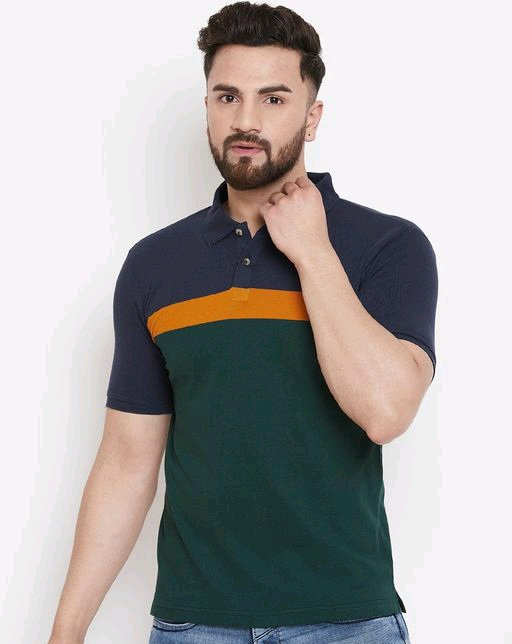 Austin wood Men's Green Striped polo Neck t-shirt