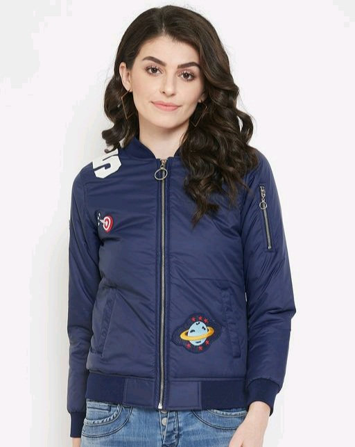 Austin wood women's Navy Blue full sleeves jacket with Embroidery