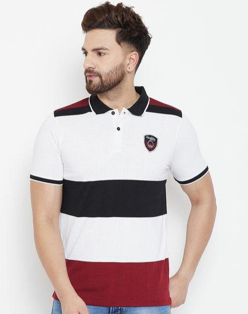 Austin wood Men's White Colorblocked Half Sleeves Polo Neck T-shirt