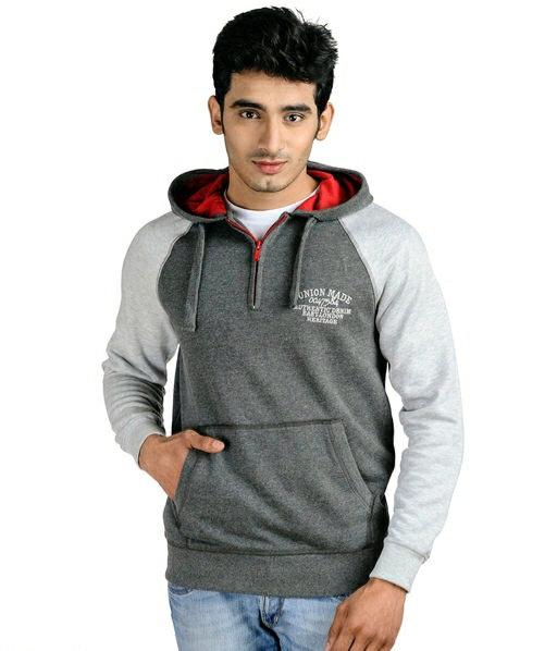 Austin wood grey full sleeves Colorblocked Hooded sweatshirt