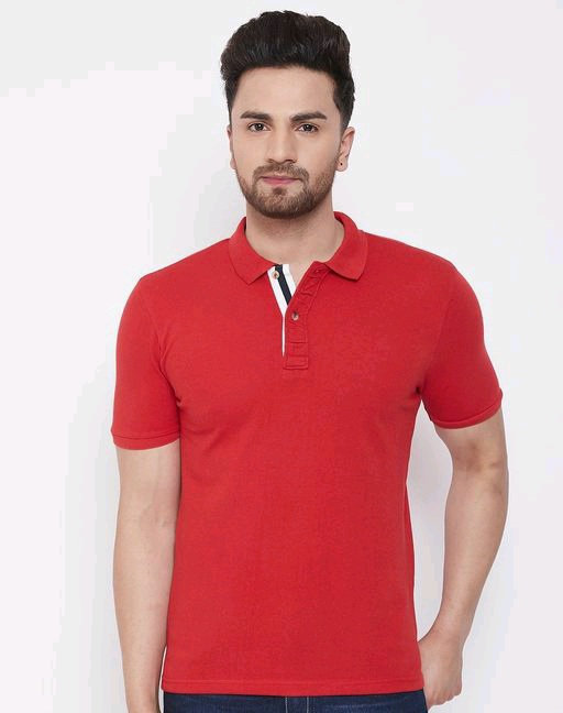 Austin Wood Men Red Solid polo collar T-shirt