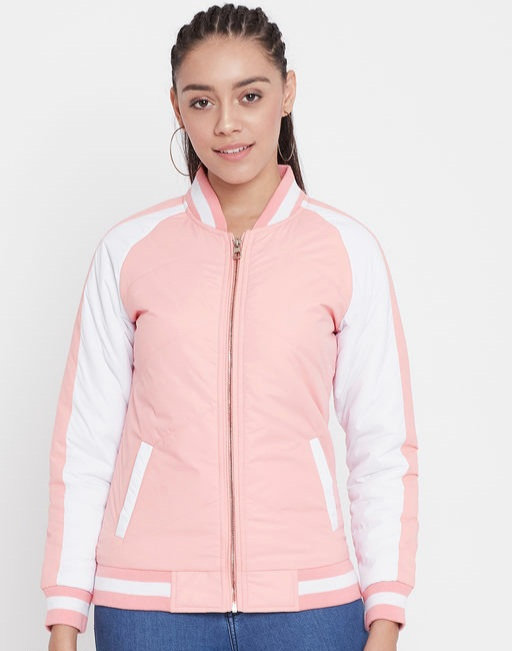Austin wood Peach Colorblocked Bomber Neck Zipper Jacket