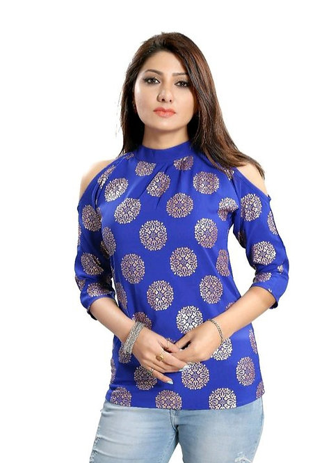 Women's Printed Dark Blue Rayon Top