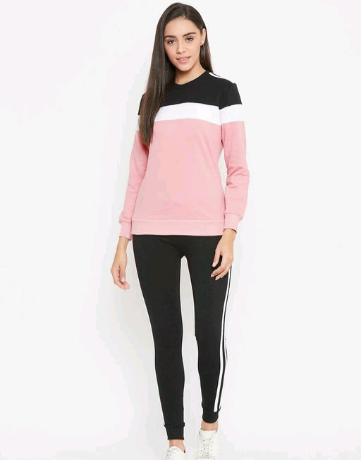 Austin wood Pink full sleeves Colorblocked Round Neck track suit