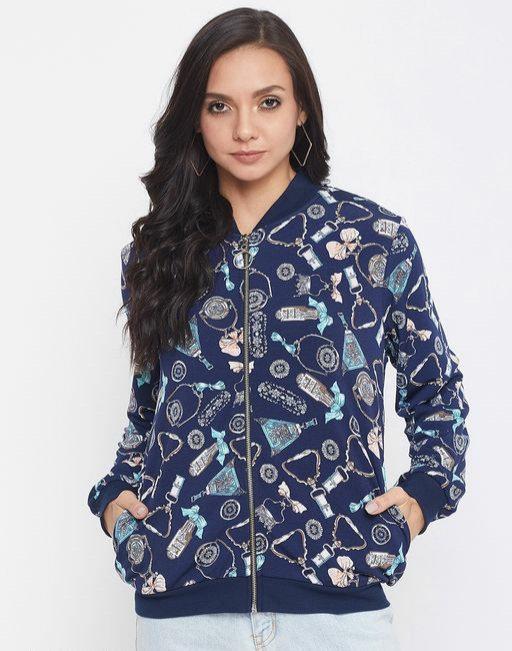 Austin wood Navy Blue Printed Mandarin collar Sweatshirt