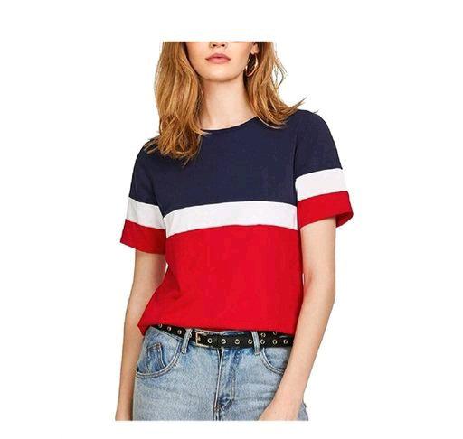 Women's color blocked light multicolor cotton top