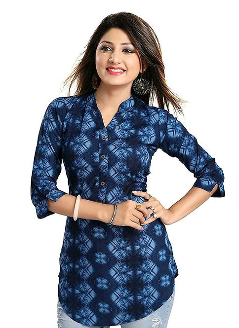 Women's Printed blue Rayon Top