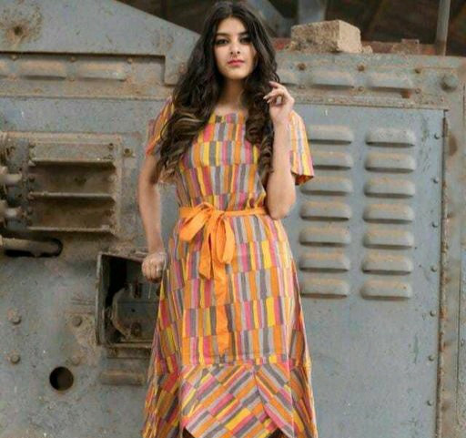 Women's printed Multicolor Cotton Dress