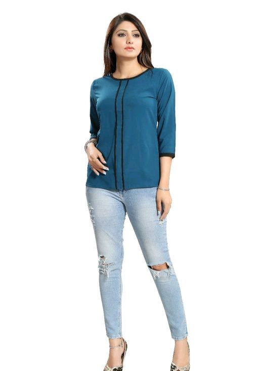 Women's Printed Solid Teal Rayon Top