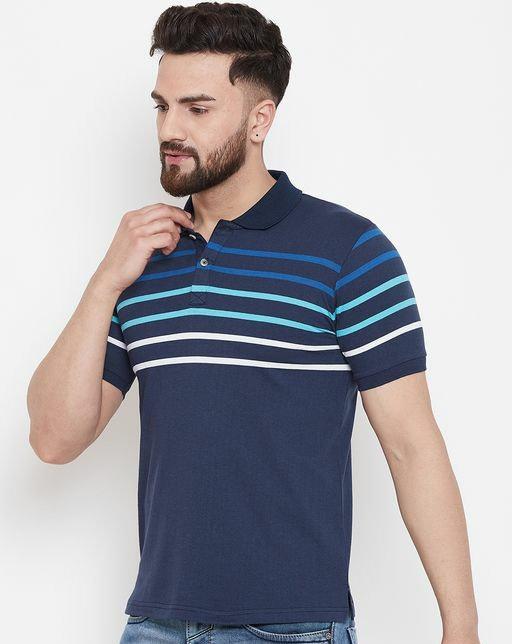 Austin wood Men's Navy Blue Striped polo Neck t-shirt
