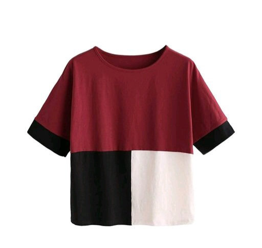 Women's color blocked light multicolor cotton top