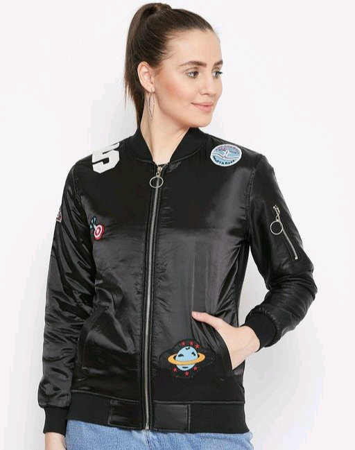 Austin wood women's Black full sleeves jacket with Embroidery