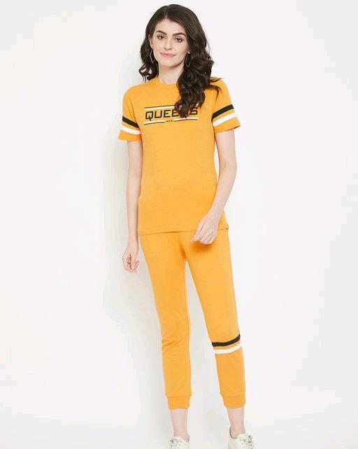 Austin wood Women's mustard solid half sleeves track suit
