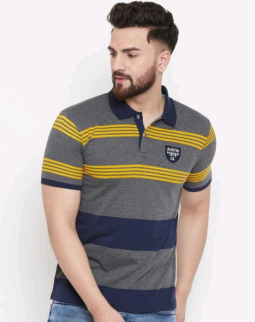 Austin wood Men's grey Striped polo Neck t-shirt