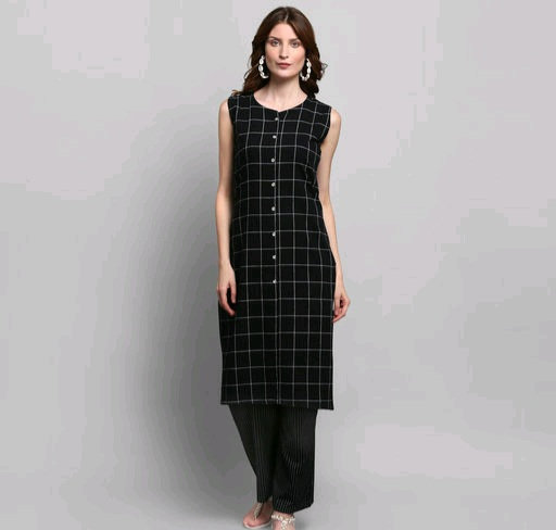 Women's Checked Cotton Kurta Set With Palazzos