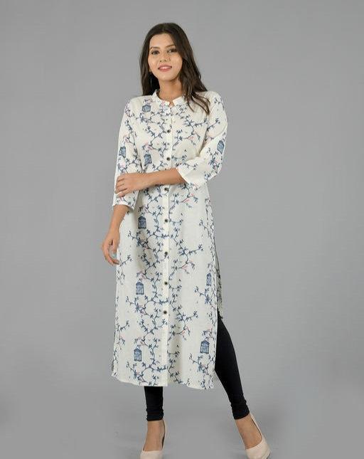 Adrika Printed White Kurti