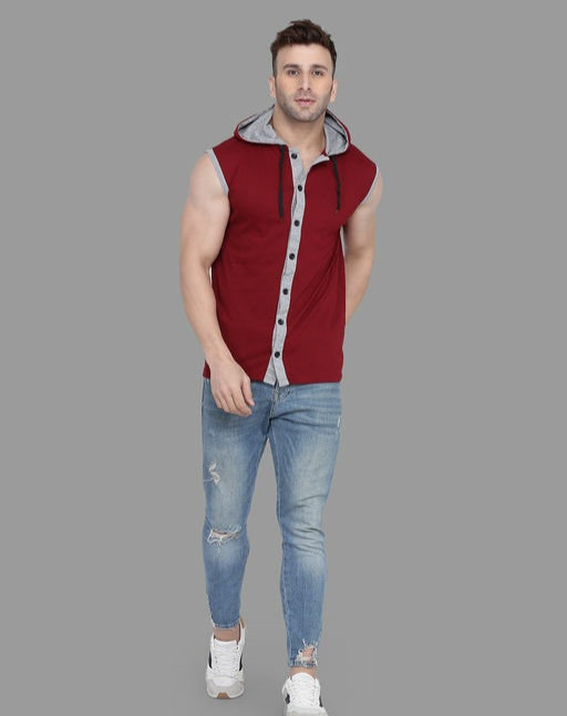 Tfurnish Hood Neck Sleeveless T-shirt