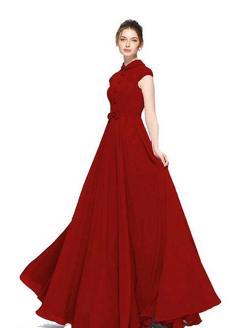 Georgette Stitched Flared/Western Gown