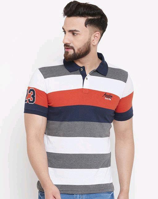Austin wood Men's Multi Striped polo Neck t-shirt