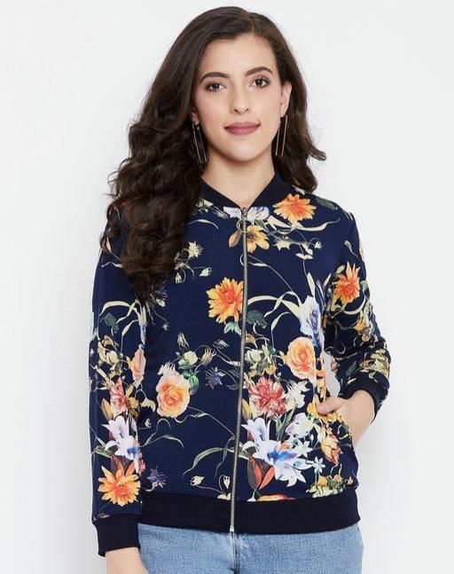 Austin wood Navy Blue Full Sleeves Printed Bomber Neck Sweatshirt
