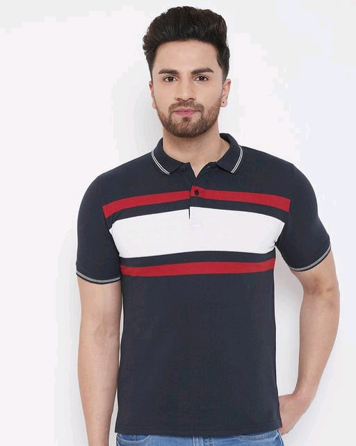 Austin Wood Men Navy Blue striped polo  T-shirt